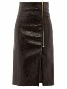 Hillier Bartley - Zipped Cracked-vinyl Pencil Skirt - Womens - Black