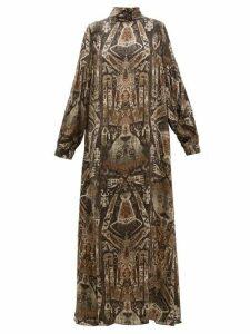 Edward Crutchley - Raja Print Long Sleeved Silk Maxi Dress - Womens - Brown Multi