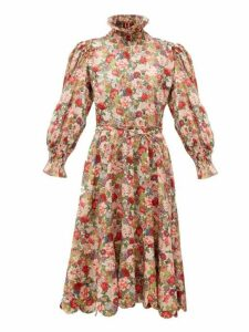 Horror Vacui - Collia Floral Print Cotton Midi Dress - Womens - Red Multi