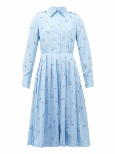Prada - Crystal Embellished Pleated Cotton Shirtdress - Womens - Light Blue