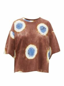 Sea - Tie Dye Cropped Cotton Jersey T Shirt - Womens - Brown Multi