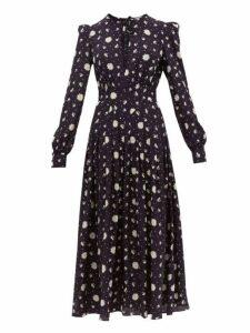 Alessandra Rich - Daisy Print Silk Crepe De Chine Midi Dress - Womens - Navy Multi