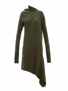 Marques'almeida - Asymmetric Ribbed Wool Dress - Womens - Khaki
