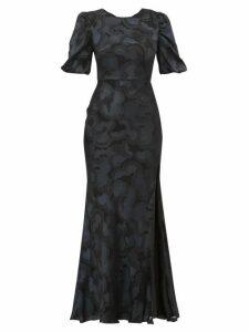 Saloni - Annie Floral Jacquard Silk Blend Dress - Womens - Black