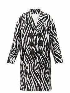 Andrew Gn - Zebra-jacquard Evening Coat - Womens - White Black