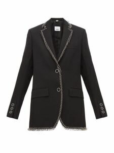 Burberry - Ring Embellished Single Breasted Wool Blazer - Womens - Black