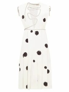 Christopher Kane - Polka Dot Squiggle Cupchain Crepe Midi Dress - Womens - White Black