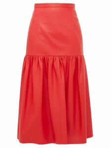 Christopher Kane - Gathered Leather Midi Skirt - Womens - Red