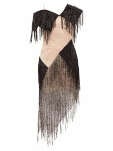 Christopher Kane - Asymmetric Bead Fringed Gauze Dress - Womens - Black Pink
