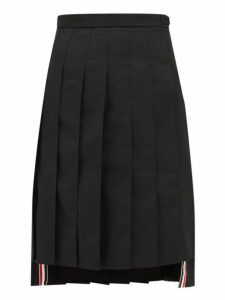 Thom Browne - Stepped Hem Pleated Wool Twill Skirt - Womens - Black