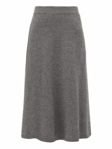 Joseph - Wool Blend Fluted Midi Skirt - Womens - Dark Grey