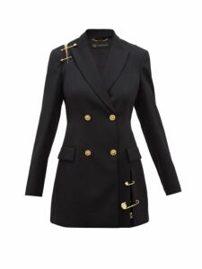 Versace - Safety Pin Embellished Wool Blazer - Womens - Black