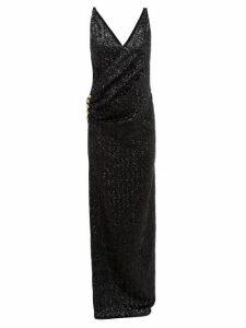 Balmain - Sequinned Wrap Effect Gown - Womens - Black