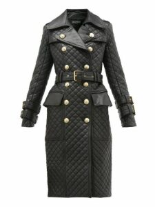 Balmain - Double Breasted Quilted Leather Trench Coat - Womens - Black