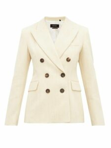 Isabel Marant - Kelsey Double Breasted Slubbed Twill Blazer - Womens - Ivory