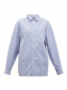 Balenciaga - Striped Cotton Shirt - Womens - Navy White