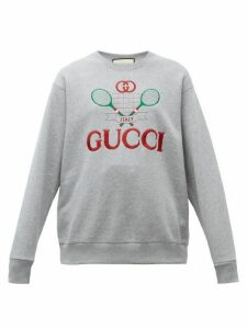 Gucci - Tennis Logo Embroidered Cotton Sweatshirt - Womens - Grey Multi