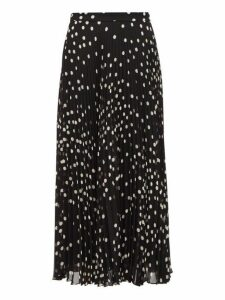 Stella Mccartney - Polka Dot Pleated Chiffon Midi Skirt - Womens - Black