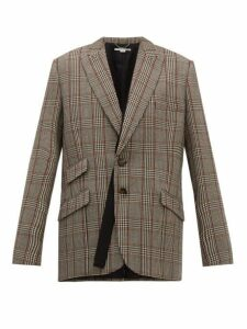 Stella Mccartney - Double Breasted Prince Of Wales Check Wool Blazer - Womens - Grey Multi