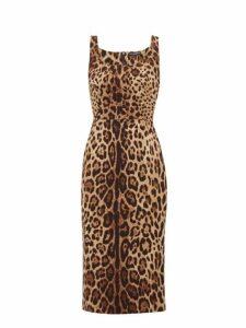 Dolce & Gabbana - Leopard Print Silk Blend Crepe Midi Dress - Womens - Leopard