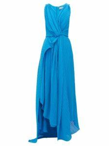 Preen By Thornton Bregazzi - Kimberly Asymmetric Plissé Georgette Dress - Womens - Blue