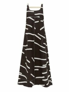 Lee Mathews - Palmas Line Print Poplin Maxi Dress - Womens - Black White