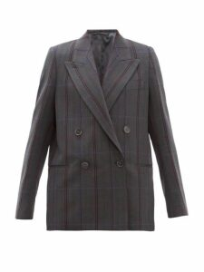 Acne Studios - Checked Double Breasted Wool Blend Blazer - Womens - Dark Grey