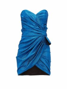 Saint Laurent - Ruched Bow-embellished Silk-blend Mini Dress - Womens - Blue