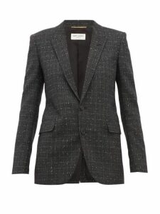 Saint Laurent - Checked Wool Blend Blazer - Womens - Grey