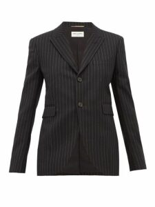 Saint Laurent - Pinstriped Wool Blazer - Womens - Black White