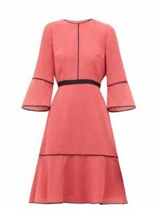 Cefinn - Grosgrain Waist Slubbed Gauze Dress - Womens - Pink