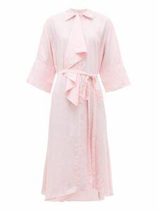 Jw Anderson - Ruffle Trim Asymmetric Shirtdress - Womens - Pink