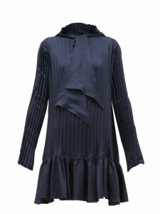 Jw Anderson - Pleated Neck Tie Satin Mini Dress - Womens - Navy