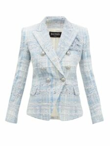 Balmain - Double Breasted Check Tweed Blazer - Womens - Blue White
