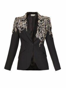 Alexander Mcqueen - Crystal Embellished Single Breasted Crepe Blazer - Womens - Black