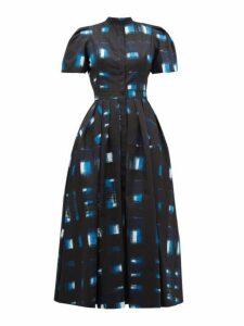 Alexander Mcqueen - Hand Printed Check Cotton Poplin Dress - Womens - Blue Multi