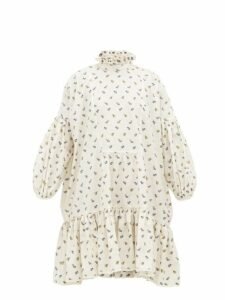 Cecilie Bahnsen - Belle Floral-jacquard Tiered Cotton Dress - Womens - Ivory Multi