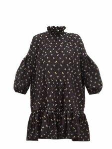 Cecilie Bahnsen - Belle Floral Print Cotton Mini Dress - Womens - Black Blue