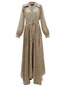 Edward Crutchley - Snake Print Belted Silk Satin Maxi Dress - Womens - Beige Multi