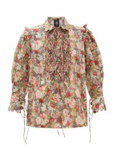 Horror Vacui - Electra Floral Print Smocked Cotton Blouse - Womens - Red Multi