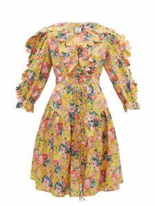 Horror Vacui - Custia Scalloped Floral Print Cotton Dress - Womens - Yellow Multi