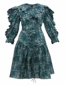 Horror Vacui - Custia Floral Print Scallop Edge Cotton Dress - Womens - Dark Green Multi