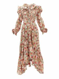 Horror Vacui - Defensia Floral Print Smocked Cotton Dress - Womens - Red Multi