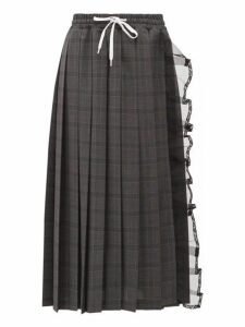 Miu Miu - Tulle Trim Pleated Checked Wool Skirt - Womens - Dark Grey