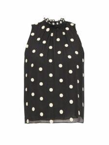 Rebecca Taylor - Sleveless Polka Dot Embroidered Silk Blouse - Womens - Black Multi
