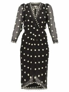 Rebecca Taylor - Polka-dot Silk-chiffon Midi Dress - Womens - Black Multi
