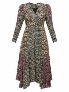 Rebecca Taylor - Louise Floral Print Georgette Midi Dress - Womens - Black Multi