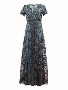 Luisa Beccaria - Floral Embroidered Tulle Gown - Womens - Black Multi
