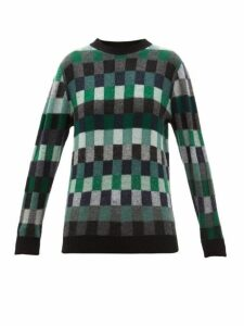 The Elder Statesman - Checked Cashmere Sweater - Womens - Green