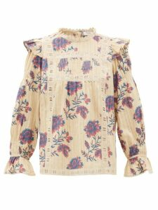 Sea - Odette Floral Print Cotton Blouse - Womens - Ivory Multi